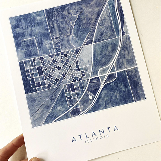 Watercolor Map Magnets, Prints, and Postcards
