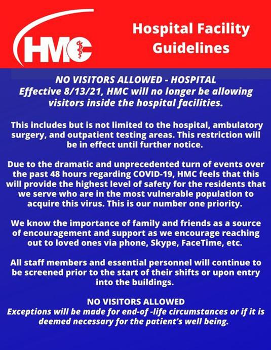 HMC Restricts Visitors